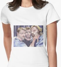 Team Free Will 2.: Misha Collins; Jared Padalecki and Jensen Ackles, watercolor painting Womens Fitted T-Shirt