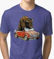 Bison in a Mini. Tri-blend T-Shirt