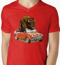 Bison in a Mini. Mens V-Neck T-Shirt