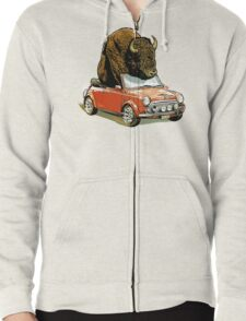 Bison in a Mini. Zipped Hoodie