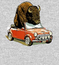 Bison in a Mini. Kids Pullover Hoodie