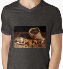 Cup of coffee with whipped cream and cocoa powder Mens V-Neck T-Shirt