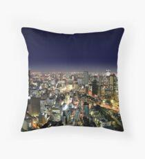 Osaka by Night - Japan Throw Pillow