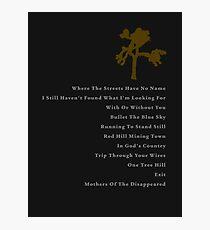 Joshua Tree Tracklist Photographic Print