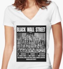 Black Wall Street Women's Fitted V-Neck T-Shirt