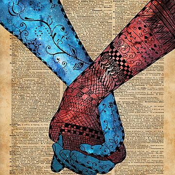 Eternal Love,Holding Hands,Space Design,Dictionary Art,Zentagle by DictionaryArt