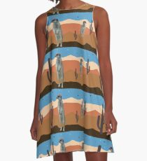 Desert Meercats and Cactus A-Line Dress