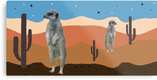Desert Meercats and Cactus by chihuahuashower