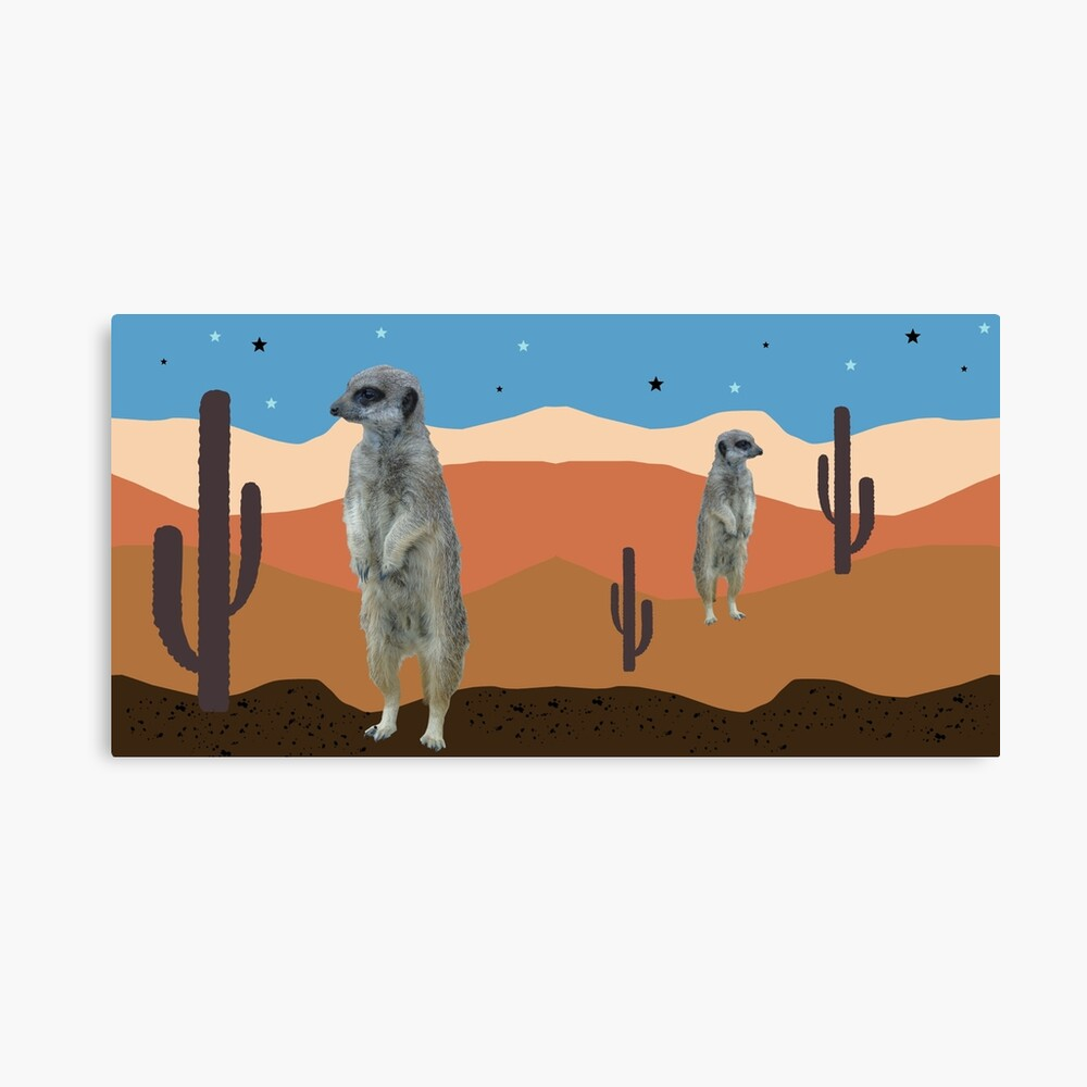 Desert Meercats and Cactus Canvas Print