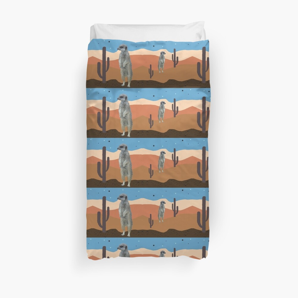 Desert Meercats and Cactus Duvet Cover