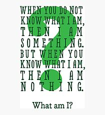 Riddle me this... (tall) Photographic Print
