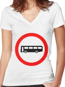 Bus UK British Cool Circle Transportation Women's Fitted V-Neck T-Shirt