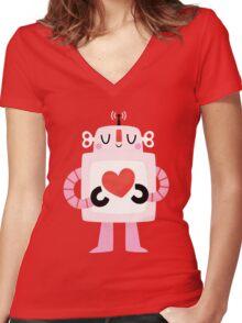 Love Robot Women's Fitted V-Neck T-Shirt