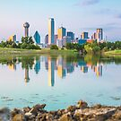 Dallas Skyline Sunset Reflection by josephhaubert