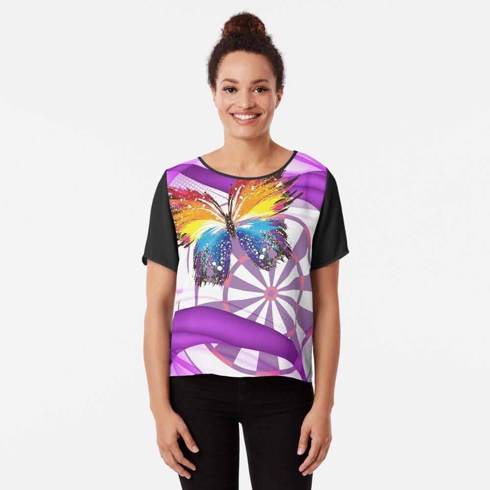 Butterfly And Dartboard Ladies Darts Shirt Women's Chiffon Top Front