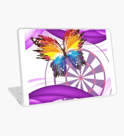 Butterfly And Dartboard Ladies Darts Shirt Laptop Skin