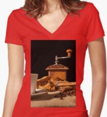 Close-up on dried orange fruit and cinnamon and coffee beans Women's Fitted V-Neck T-Shirt