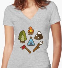 Camping is Cool Pattern Women's Fitted V-Neck T-Shirt