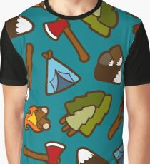 Camping is Cool Pattern Graphic T-Shirt