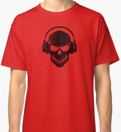 Skull with Headphones - Rave - Electro - Hardstyle Classic T-Shirt