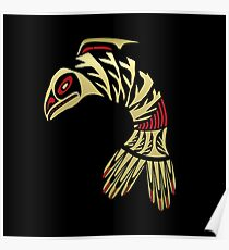 Pacific Northwest Black and Gold Salmon Icon Poster