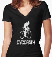Cycopath funny cycling Women's Fitted V-Neck T-Shirt