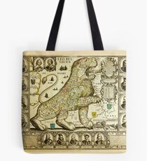 Rare old map of the Netherlands in the shape of a lion from 1600 Tote Bag
