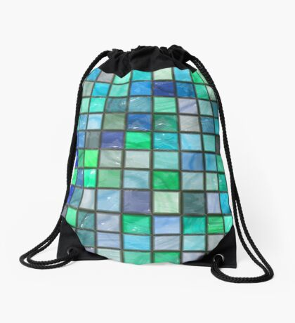 Tile Squares Design by Julie Everhart Drawstring Bag