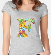 "Floral Letters ""F"" Women's Fitted Scoop T-Shirt"