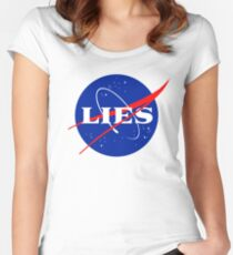 NASA LIES LOGO Women's Fitted Scoop T-Shirt
