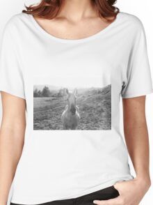 Black and White Horse  Women's Relaxed Fit T-Shirt