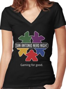 San Antonio Nerd Night - Color Flat Women's Fitted V-Neck T-Shirt