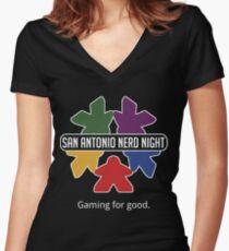 San Antonio Nerd Night - Color Flat Women's Fitted V-Neck T-Shirt