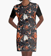 Vintage Halloween Pattern Graphic T-Shirt Dress