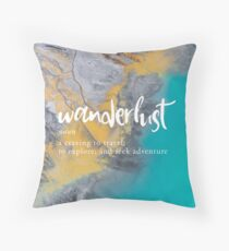 Wanderlust Definition - Topographical Map Throw Pillow