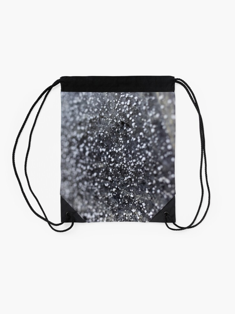 Alternate view of Salt crystals on a wall in a salt mine Drawstring Bag
