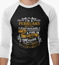 Camiseta ¾ bicolor para hombre soy una mujer de febrero