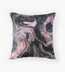 Stylish rose gold abstract marbleized design Throw Pillow
