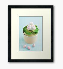 Easter bunny cupcake on blue Framed Print