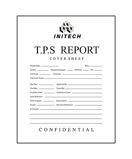 Quot Tps Report Cover Sheet Initech Quot Photographic Print By