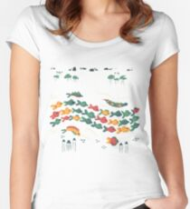 A Stream With Bright Fish Women's Fitted Scoop T-Shirt