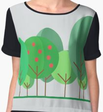 Vector illustration: Simple modern trees of different shape. Flat design Women's Chiffon Top