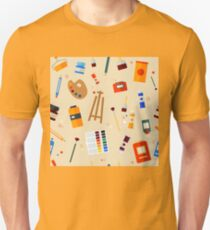 Tools and Materials for Creativity and Painting Seamless Pattern Unisex T-Shirt