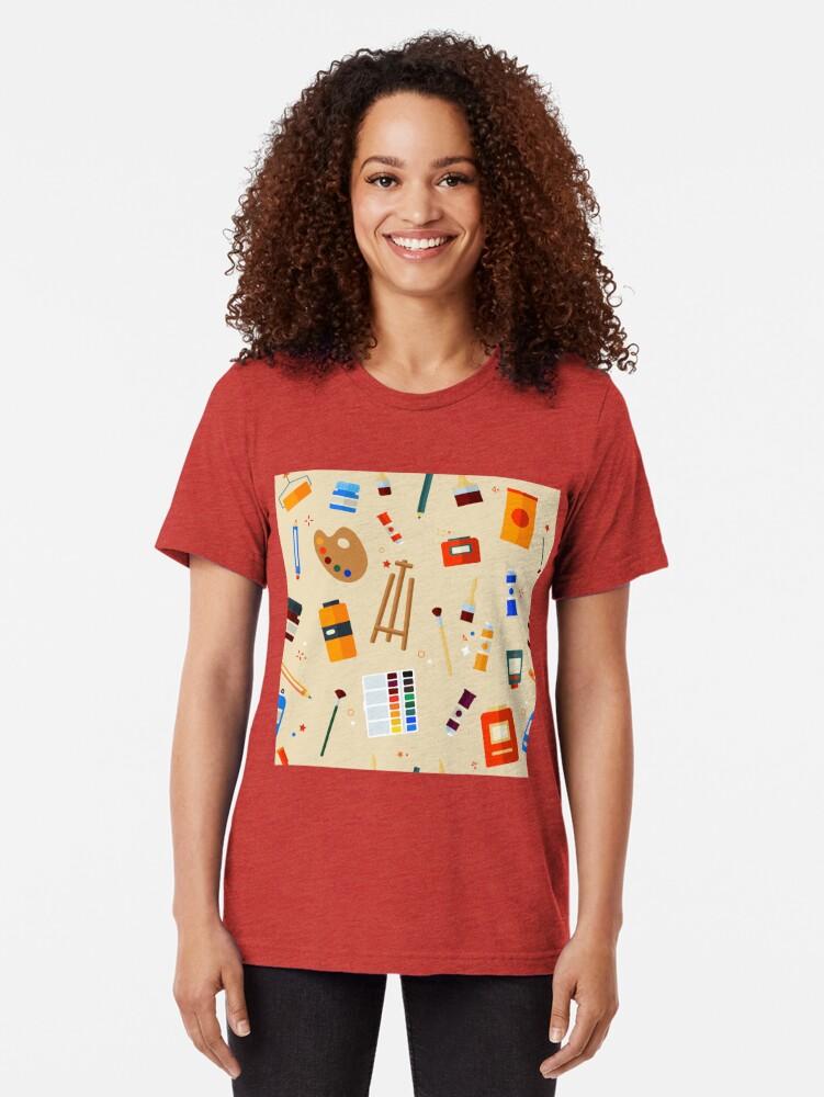 Alternative Ansicht von Werkzeuge und Materialien für Kreativität und Malerei Seamless Pattern Vintage T-Shirt