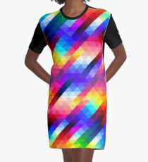 Colorful abstract triangles pattern Graphic T-Shirt Dress