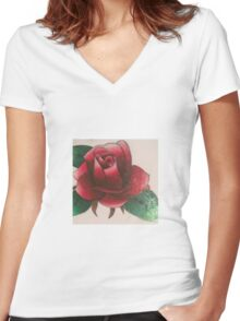 Original flower drawing with colored pencil  Women's Fitted V-Neck T-Shirt