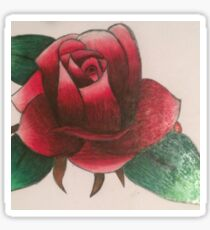 Original flower drawing with colored pencil  Sticker