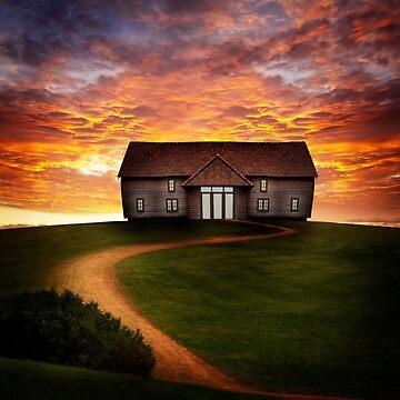 Barn Under Dramatic Sunset by Kilbracken