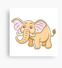 Cute yellow cartoon elephant Canvas Print