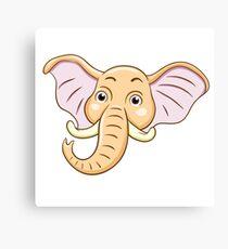 Head of cute cartoon elephant Canvas Print